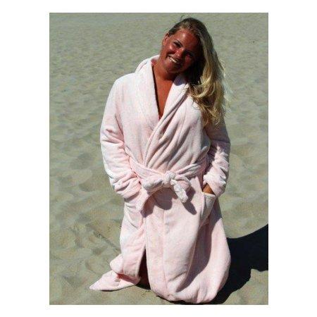 badjas dames lichtroze fleece met sjaalkraag - fleece