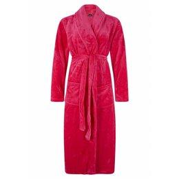 badjas dames fuchsia met sjaalkraag - fleece