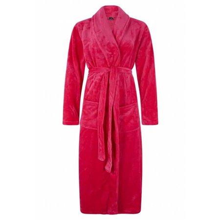 badjas dames fuchsia fleece met sjaalkraag - fleece