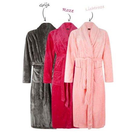 Badrock badjas dames fuchsia fleece met sjaalkraag