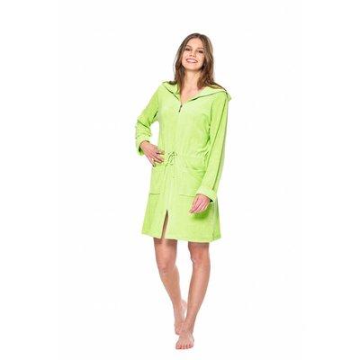 Badjas dames groen met rits en capuchon