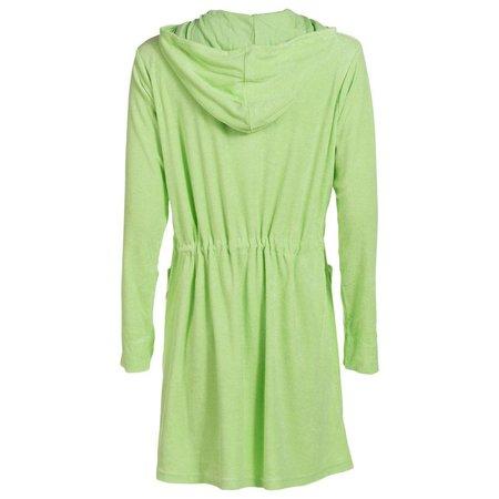 Badjas dames groen - met rits en capuchon