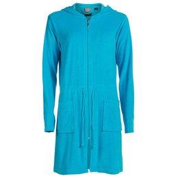 Badjas dames aquablauw met rits en capuchon