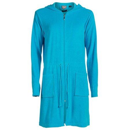Badjas dames aquablauw  - met rits en capuchon