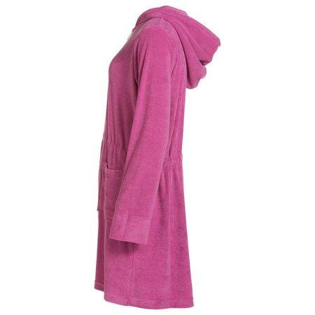 Badjas dames roze - met rits en capuchon