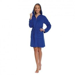 Badjas dames kobaltblauw met rits en capuchon