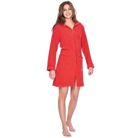Badjas dames rood  - met rits en capuchon