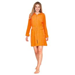 Badjas dames oranje met rits en capuchon