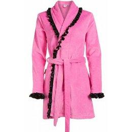 Badjas dames roze met sjaalkraag