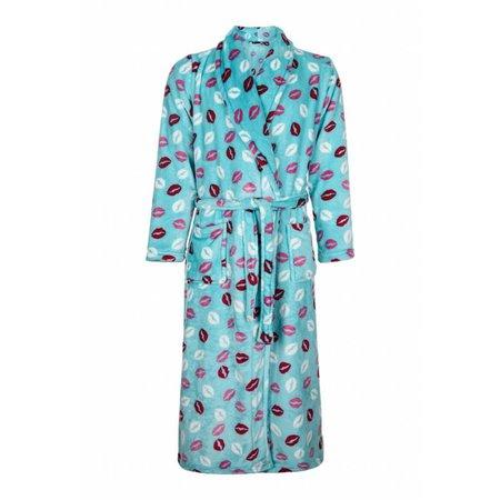 Badrock badjas dames Kusjes fleece met sjaalkraag