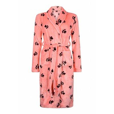 Badrock badjas dames Hondenpootjes met sjaalkraag