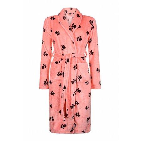Badrock badjas dames Hondenpootjes fleece met sjaalkraag