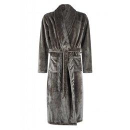 Badrock badjas badjas unisex antraciet met sjaalkraag - fleece