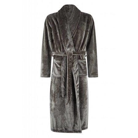 badjas unisex antraciet fleece met sjaalkraag - fleece