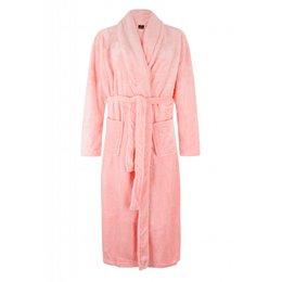 Badrock badjas dames lichtroze met sjaalkraag