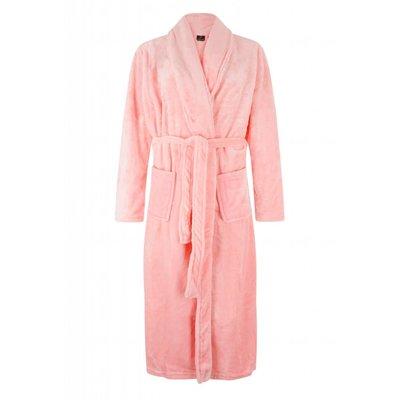 badjas dames lichtroze met sjaalkraag - fleece