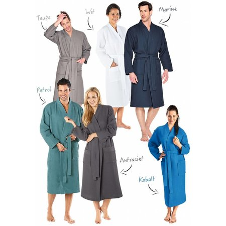 Badrock badjas unisex taupe katoen kimono