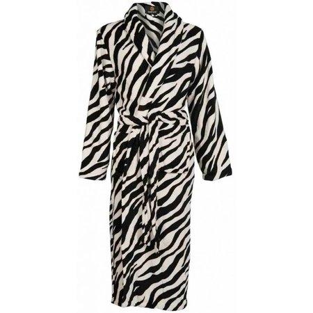 Badrock badjas dames Zebra  fleece met sjaalkraag