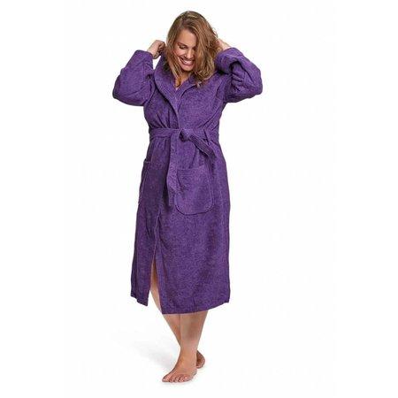 badjas dames paars katoen met capuchon