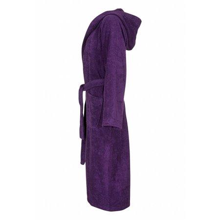 Badrock badjas dames paars katoen met capuchon