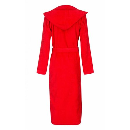 badjas unisex rood katoen met capuchon