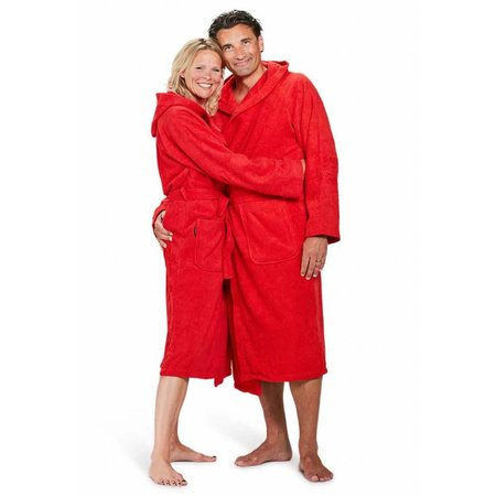 Badrock badjas unisex rood katoen met capuchon