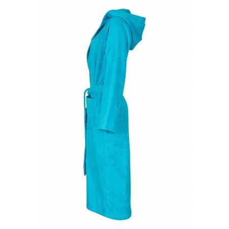 badjas unisex aquablauw katoen met capuchon