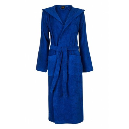 badjas unisex kobaltblauw katoen met capuchon