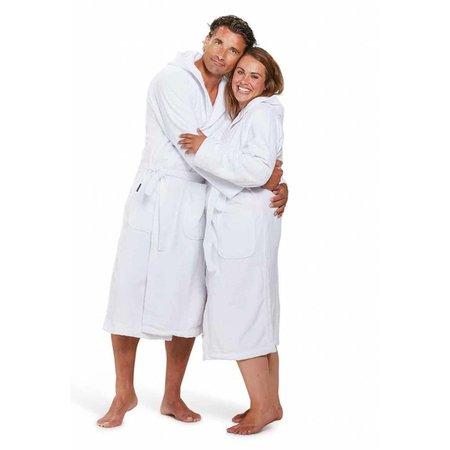 badjas unisex wit katoen met capuchon