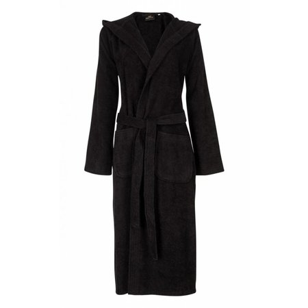 Badrock badjas unisex zwart katoen met capuchon