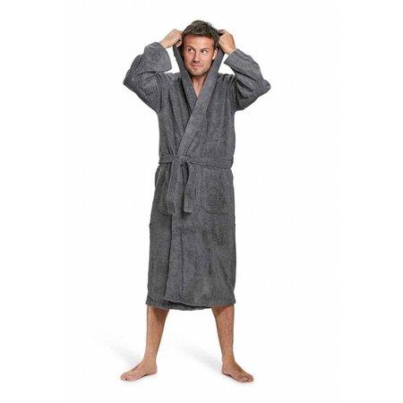 Badrock badjas unisex antraciet katoen met capuchon