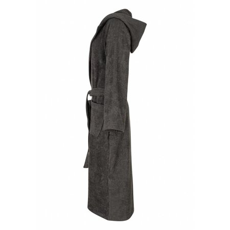 badjas unisex antraciet katoen met capuchon