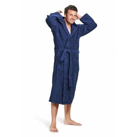 badjas unisex marineblauw katoen met capuchon
