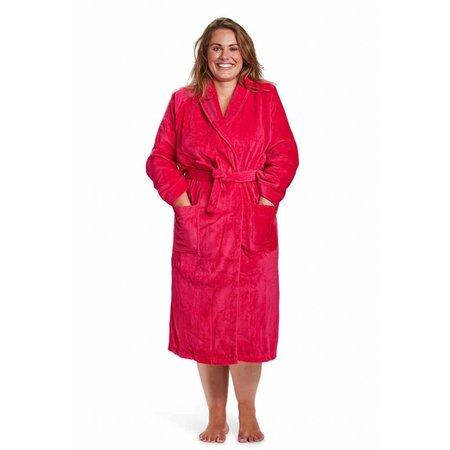 Badrock badjas badjas dames fuchsia katoen met sjaalkraag