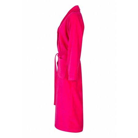 Badrock badjas dames fuchsia katoen met sjaalkraag