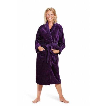 badjas dames paars katoen met sjaalkraag