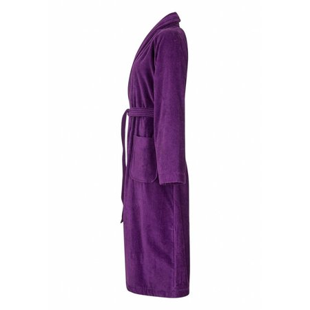 Badrock badjas dames paars katoen met sjaalkraag