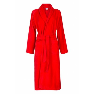 Badrock badjas unisex rood met sjaalkraag