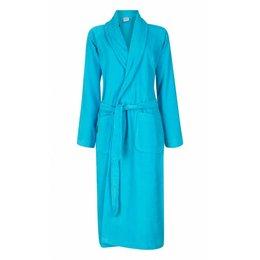 badjas unisex aquablauw met sjaalkraag