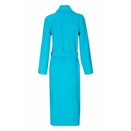 badjas unisex aquablauw katoen met sjaalkraag
