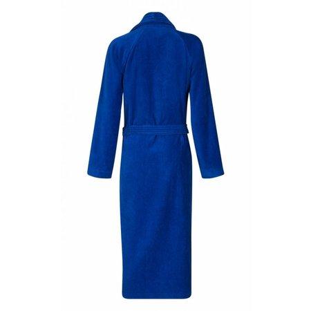 badjas unisex kobaltblauw katoen met sjaalkraag