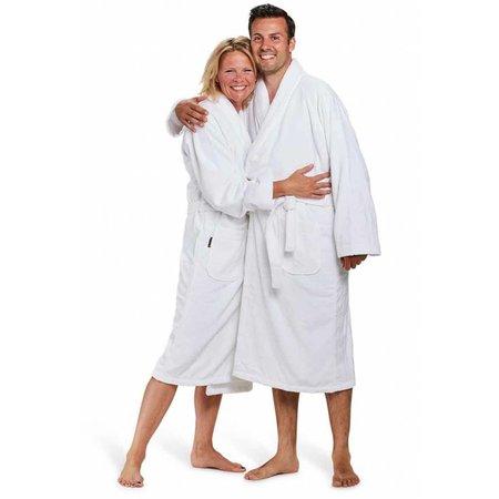 Badrock badjas unisex wit katoen met sjaalkraag