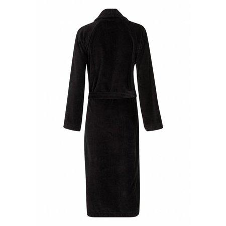 badjas unisex zwart katoen met sjaalkraag