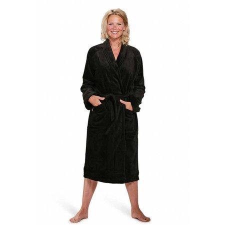 Badrock badjas unisex zwart katoen met sjaalkraag