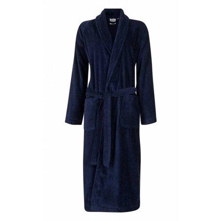 badjas unisex marineblauw katoen met sjaalkraag