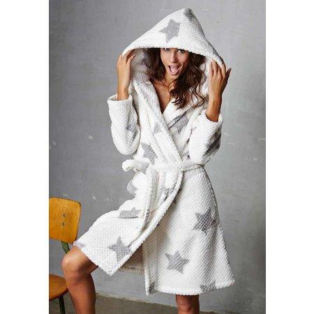 Rebelle badjas dames sterren fleece met capuchon