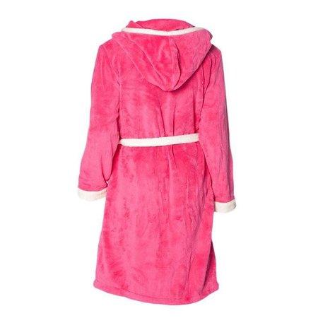 Badrock badjas badjas dames fuchsia-wit fleece met capuchon