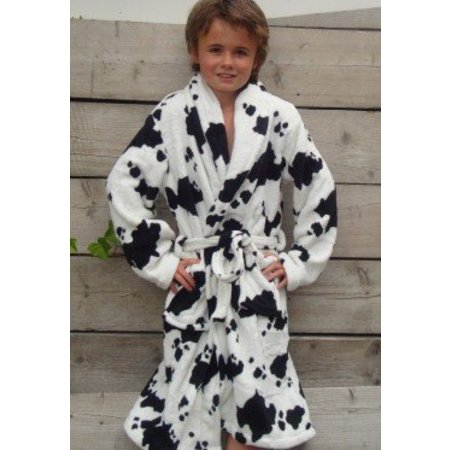 badjas kind Little Cow fleece met sjaalkraag