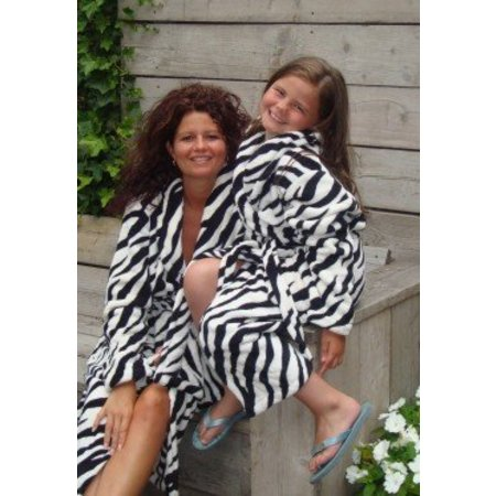 Badrock badjas kind Little Zebra fleece met sjaalkraag