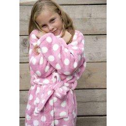 badjas kind Little Pink Dottie met sjaalkraag
